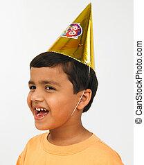 chapeau, papier, conique, gosse