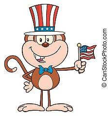 chapeau patriotique, singe