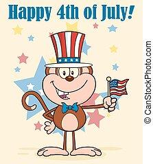 chapeau patriotique, singe, usa, heureux