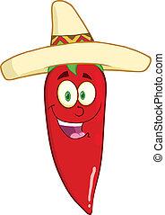 chapeau, piment, mexicain, poivre