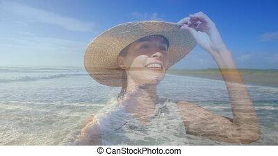 chapeau, plage, paille, 4k, porter, femme