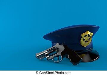 chapeau, police, fusil