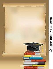 chapeau repére, books., pile, papier, parchemin