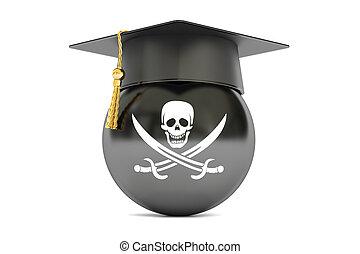 chapeau repére, rendre, drapeau, pirate, 3d