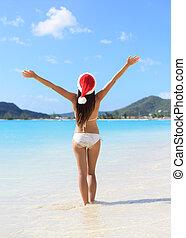 chapeau, santa, fetes, noël, bikini, femme, plage