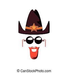 chapeau, sherif, lunettes soleil, moustache