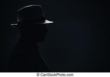 chapeau, silhouette, homme