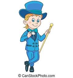 chapeau, sommet, dessin animé, smoking, monsieur