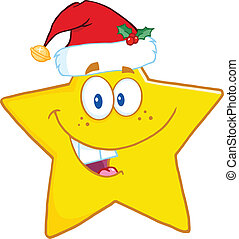 chapeau, sourire, étoile, santa