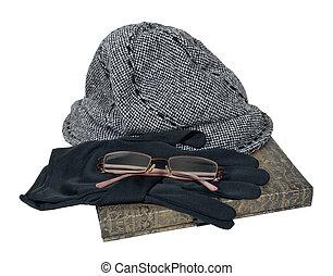 chapeau, tweed, livre, gants, lunettes