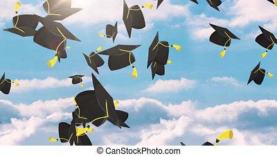 chapeaux, animation, ciel, tomber, remise de diplomes, ...