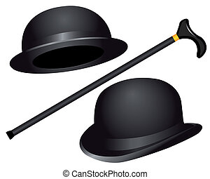 chapeaux, canne, deux