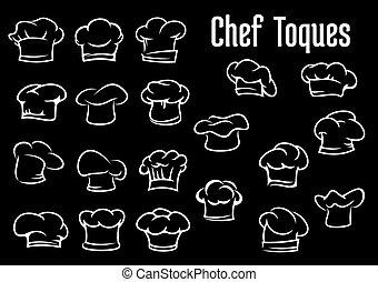 chapeaux, casquettes, chef cuistot, toques, cuisinier, ou