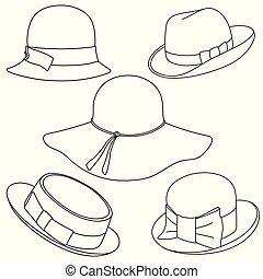 chapeaux, ensemble, fond blanc