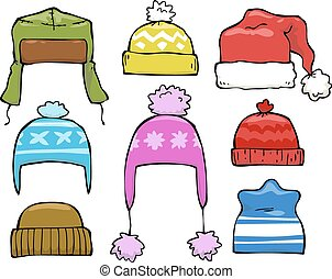 chapeaux, ensemble, hiver