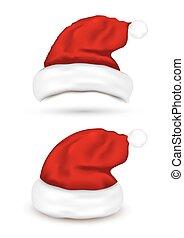 chapeaux, ensemble, santa, fond, blanc