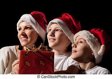 chapeaux, famille, santa