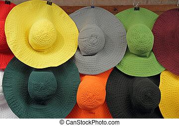 chapeaux, femme, coloré, soleil
