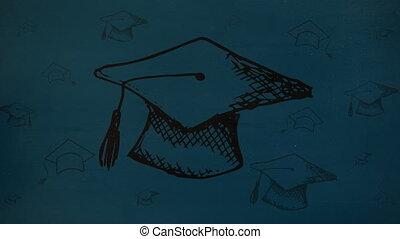 chapeaux, fond, numérique, remise de diplomes, dessin, ...