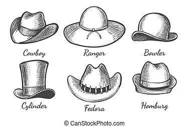 chapeaux, hommes, croquis