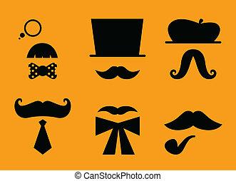 chapeaux, isolé, accessoires, moustaches, retro, orange