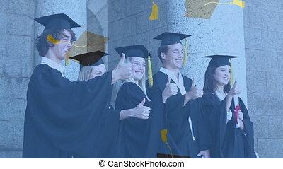 chapeaux, numérique, tomber, poser, remise de diplomes, ...