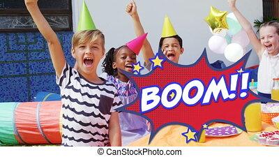 chapeaux, porter, texte, contre, fête, bulle, parole, boom, gosses, anniversaire