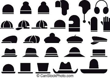 chapeaux, vecteur, divers