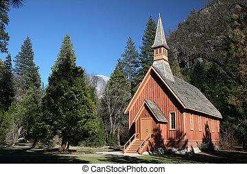 A chapel seet in Yosemite Valley