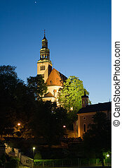 Chapel and bell-tower in old European city