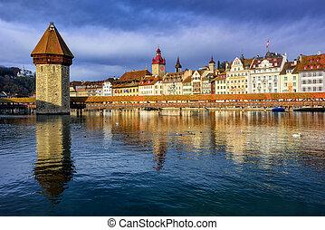 Chapel Bridge and Old Town Lucerne, Switzerland