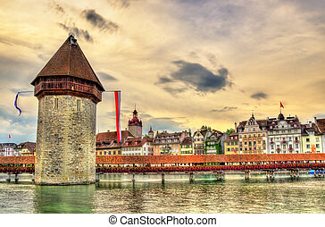 Chapel Bridge and Water Tower in Luzern, Switzerland