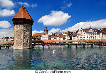 Chapel Bridge and Water Tower, Luzern, Switzerland