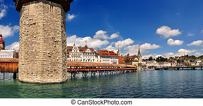 Chapel Bridge and Water Tower. Luzern, Switzerland