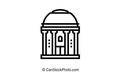 chapel building animated black icon. chapel building sign. isolated on white background