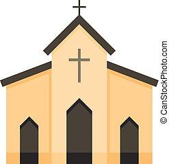 Chapel icon, flat style - Chapel icon. Flat illustration of...