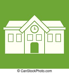 Chapel icon green - Chapel icon white isolated on green...