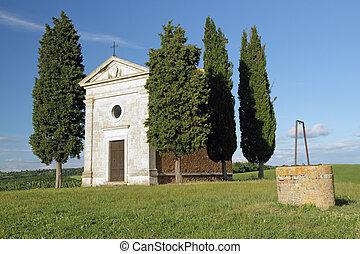 Chapel of Madonna di Vitaleta ( cappella della Madonna di Vitaleta ) in tuscan countryside near San Quirico d'Orcia village,Italy,Europe
