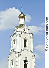 Chapel of russian orthodox church against the blue sky background