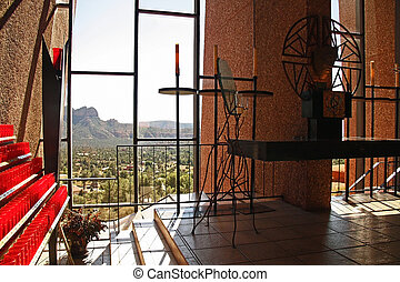 Chapel of the Holy Cross in Sedona, Arizona. Designed by a student of Frank Lloyd Wright.