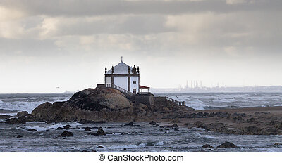 Chapel on the Beach During a Stormy Day
