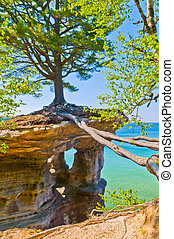 Chapel Rock on the trail to Mosquito Beach in Pictured Rock...