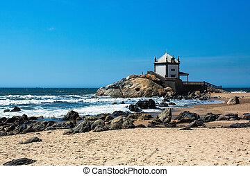Chapel Senhor da Pedra on Miramar Beach, Vila Nova de Gaia, Portugal.