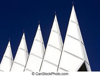 Chapel Spires against blue sky 2