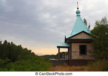 Chapel on island Valaam at a dawn