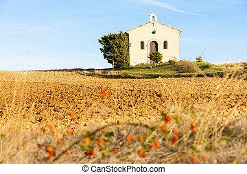 chapel with field, Plateau de Valensole, Provence, France