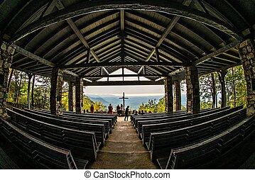 chapelle, montagne, symmes, touriste, comté, -, greenville, repère, oct, attraction, cèdre, sud, joli, sc, endroit, aka, 2016, 15, levers de soleil, caroline