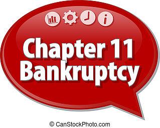 chapitre 11, terme, illustration affaires, bulle discours, ...