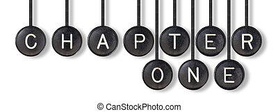 chapitre, boutons, -, isolé, une, machine écrire