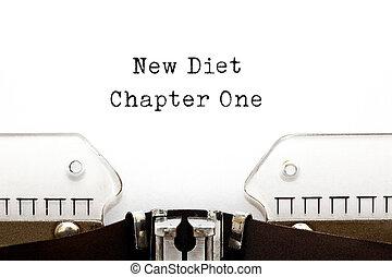 chapitre, nouveau, une, régime, machine écrire